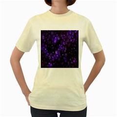 Bokeh Background Texture Stars Women s Yellow T Shirt