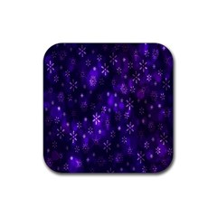 Bokeh Background Texture Stars Rubber Square Coaster (4 pack)