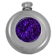 Bokeh Background Texture Stars Round Hip Flask (5 Oz)