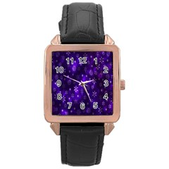 Bokeh Background Texture Stars Rose Gold Leather Watch