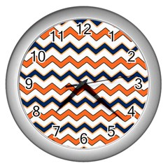 Chevron Party Pattern Stripes Wall Clocks (silver)