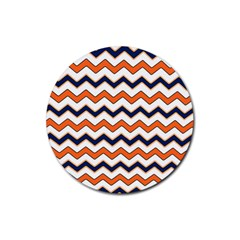 Chevron Party Pattern Stripes Rubber Round Coaster (4 Pack)