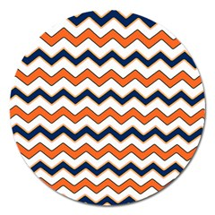 Chevron Party Pattern Stripes Magnet 5  (round)