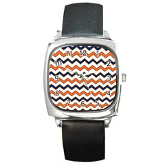 Chevron Party Pattern Stripes Square Metal Watch