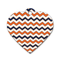 Chevron Party Pattern Stripes Dog Tag Heart (two Sides)