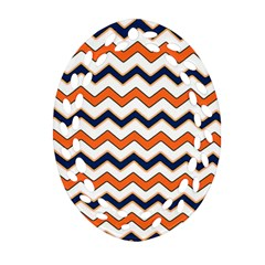 Chevron Party Pattern Stripes Oval Filigree Ornament (two Sides)