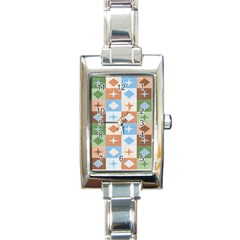Fabric Textile Textures Cubes Rectangle Italian Charm Watch