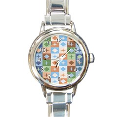 Fabric Textile Textures Cubes Round Italian Charm Watch