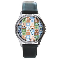 Fabric Textile Textures Cubes Round Metal Watch