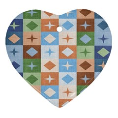Fabric Textile Textures Cubes Ornament (Heart)