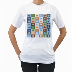 Fabric Textile Textures Cubes Women s T Shirt (white) (two Sided)