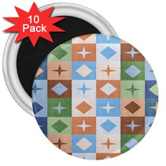 Fabric Textile Textures Cubes 3  Magnets (10 Pack)