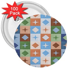 Fabric Textile Textures Cubes 3  Buttons (100 Pack)