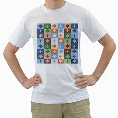 Fabric Textile Textures Cubes Men s T Shirt (white) (two Sided)