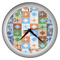 Fabric Textile Textures Cubes Wall Clocks (silver)