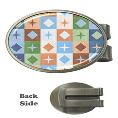 Fabric Textile Textures Cubes Money Clips (oval)