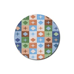 Fabric Textile Textures Cubes Rubber Round Coaster (4 Pack)