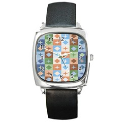 Fabric Textile Textures Cubes Square Metal Watch