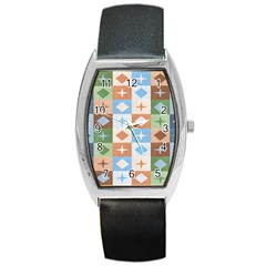 Fabric Textile Textures Cubes Barrel Style Metal Watch