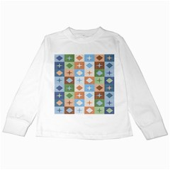 Fabric Textile Textures Cubes Kids Long Sleeve T-Shirts
