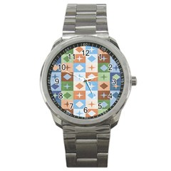 Fabric Textile Textures Cubes Sport Metal Watch