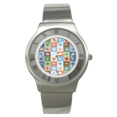 Fabric Textile Textures Cubes Stainless Steel Watch
