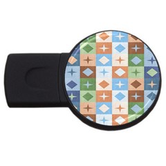 Fabric Textile Textures Cubes Usb Flash Drive Round (4 Gb)