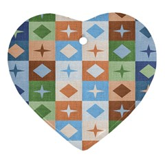 Fabric Textile Textures Cubes Heart Ornament (two Sides)