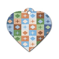 Fabric Textile Textures Cubes Dog Tag Heart (two Sides)