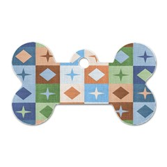 Fabric Textile Textures Cubes Dog Tag Bone (two Sides)