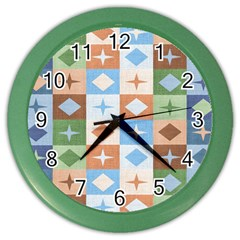 Fabric Textile Textures Cubes Color Wall Clocks