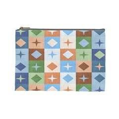 Fabric Textile Textures Cubes Cosmetic Bag (large)