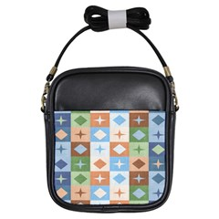 Fabric Textile Textures Cubes Girls Sling Bags