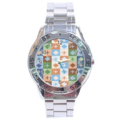 Fabric Textile Textures Cubes Stainless Steel Analogue Watch