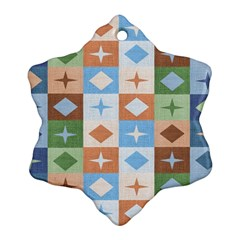 Fabric Textile Textures Cubes Snowflake Ornament (two Sides)