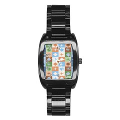 Fabric Textile Textures Cubes Stainless Steel Barrel Watch