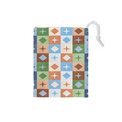 Fabric Textile Textures Cubes Drawstring Pouches (small)
