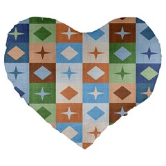 Fabric Textile Textures Cubes Large 19  Premium Flano Heart Shape Cushions