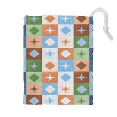 Fabric Textile Textures Cubes Drawstring Pouches (extra Large)