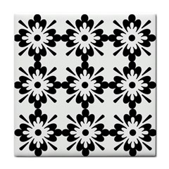 Floral Illustration Black And White Tile Coasters