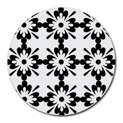 Floral Illustration Black And White Round Mousepads