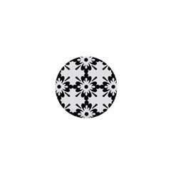 Floral Illustration Black And White 1  Mini Buttons
