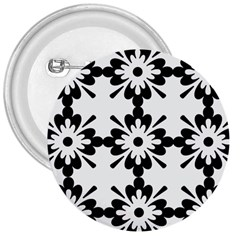 Floral Illustration Black And White 3  Buttons