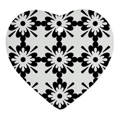 Floral Illustration Black And White Ornament (heart)