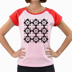 Floral Illustration Black And White Women s Cap Sleeve T Shirt