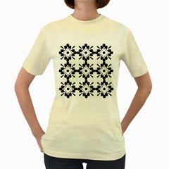 Floral Illustration Black And White Women s Yellow T Shirt