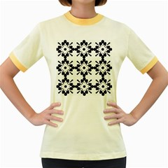 Floral Illustration Black And White Women s Fitted Ringer T Shirts