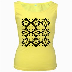 Floral Illustration Black And White Women s Yellow Tank Top