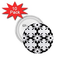 Floral Illustration Black And White 1 75  Buttons (10 Pack)