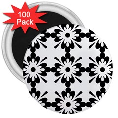 Floral Illustration Black And White 3  Magnets (100 Pack)